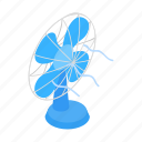 blue, cold, cooling, electric, fun, isometric, turn icon