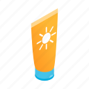 care, cosmetic, isometric, protection, summer, sunblock, suntan icon