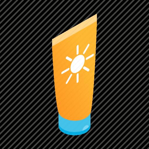 care, cosmetic, isometric, protection, summer, sunblock, suntan icon