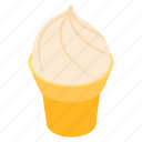brulee, cone, cream, creme, dessert, isometric, sweet icon