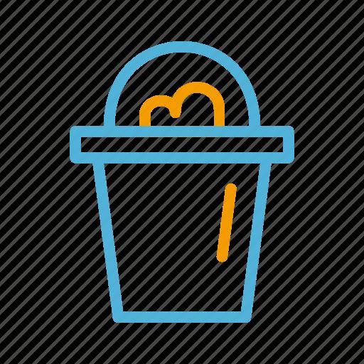 beach, bucket, summer icon