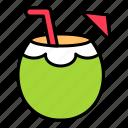 beverage, coconut, coconut juice, fruit, party, summer icon