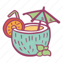 beach, beverage, coconut, drink, summer icon