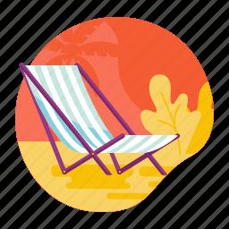 beach, chair, lounge, recliner, relax, summer icon