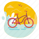 bicycle, bike, ride, summer, travel icon