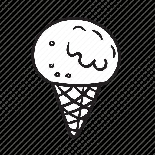 Cone Dessert Food Ice Cream Scoop Summer Sweet Icon