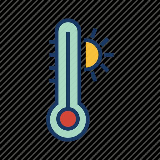 forecast, heat, high degree, hot, hot temperature, temperature, thermometer icon