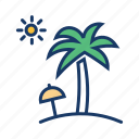 coconut tree, holiday, sea, summer vacation, sun, umbrella icon