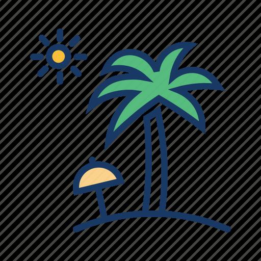 coconut tree, holiday, sea, summer vacation, sun, umbrella icon