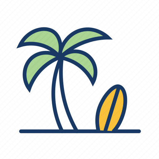beach, coconut tree, holiday, sea, summer vacation, surfboard, surfing icon