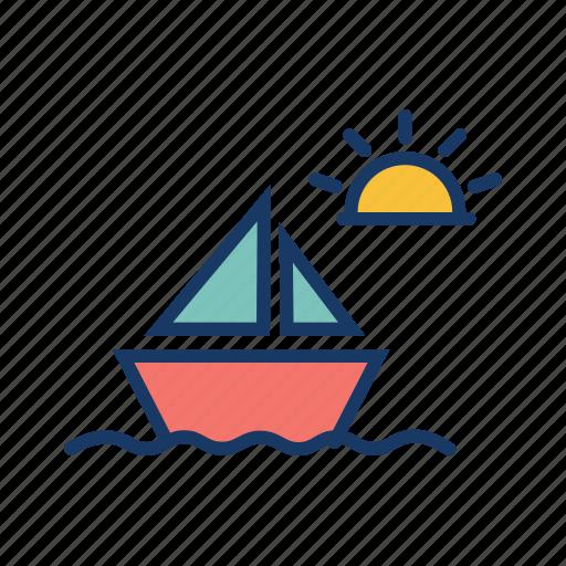 boat, daytime, fishing, sea, ship, sunny, transport icon