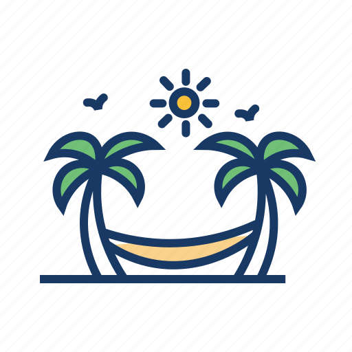 beach, coconut trees, hammock, hammock swing, palm trees, resort, vacation icon