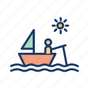 boat, daytime, fisherman, fishing, sea, ship icon