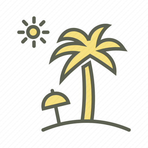 cocunut tree, holiday, sea, summer vacation, sun, umbrella icon