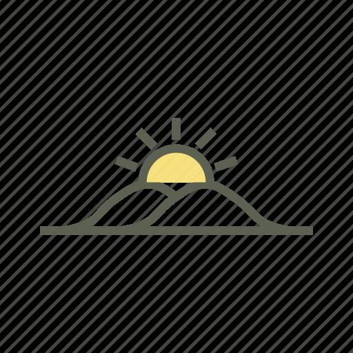 daytime, mountain, partly sunny, scenario, sunrise, sunset icon