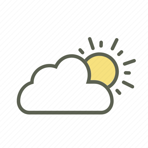 Daytime, hot sun, partly cloudy, summer, sun, sunny day, temperature icon - Download on Iconfinder