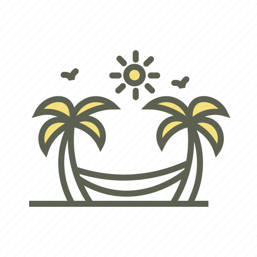 Beach, coconut trees, hammock, hammock swing, palm trees, resort, vacation icon - Download on Iconfinder