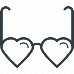 eyeglasses, glare glasses, heart shaped sunglasses, spectacles, sun glasses icon