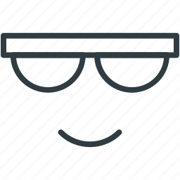 cartoon character, cool, glasses, smile, sun icon
