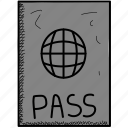 airport, pass, passport icon