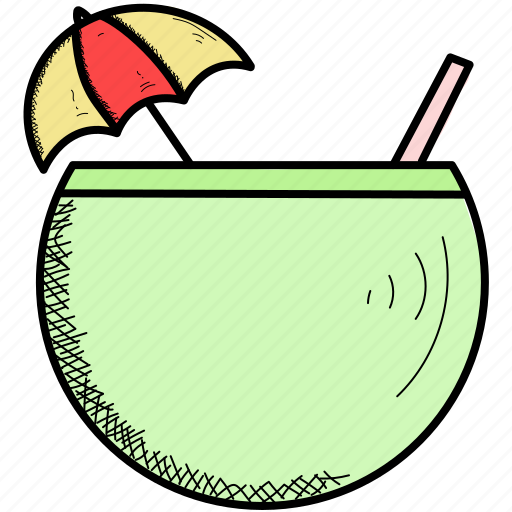 coconut, food, fruit, lemon, water icon