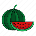 summer, vitamin, fruit, watermelon, green, eat, red icon