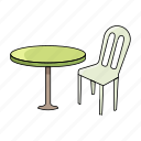 beach, chair, seat, sit, summer, table icon
