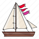 boat, flags, sail, sea, ship, summer, water icon
