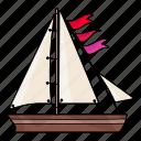 boat, flags, sail, sea, ship, summer, water