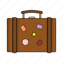 case, cloths, marks, suitcase, travel, trip, wear icon