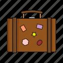 case, cloths, marks, suitcase, travel, trip, wear
