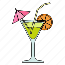 cold, cool, drink, glass, juice, lemon, umbrella icon