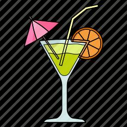 cold, cool, drink, glass, juice, lemon, umbrella icon