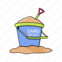 beach, bucket, kids, make, play, sand, summer icon