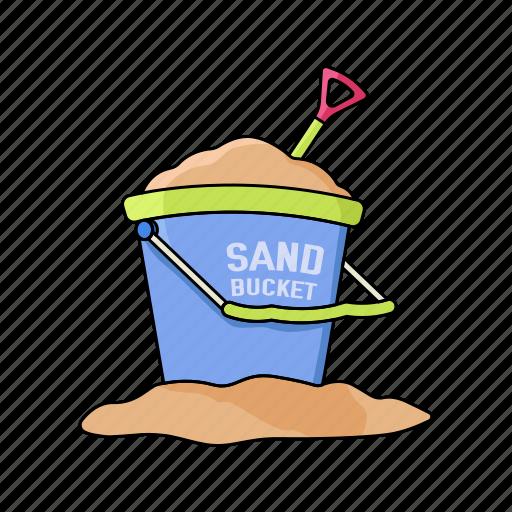beach, bucket, kids, make, play, sand, summer icon