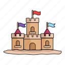 beach, castle, kids, make, play, sand, summer icon