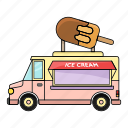 car, earn, ice cream, money, sell, set, summer icon