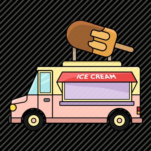 car, earn, ice cream, money, sell, set, summer icon