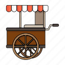 fast food, food cart, set, shop beach, summer, wagon icon