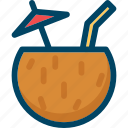 cocktail, coconut, drink, milk, summer icon