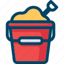 beach, bucket, pail, sand, shovel icon