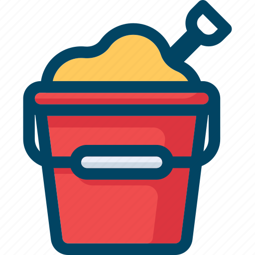beach, bucket, pail, sand, shovel icon