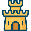 beach, castle, sand icon