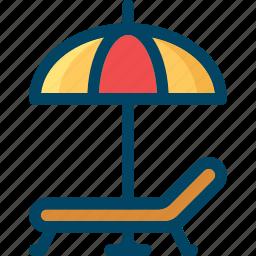 beach, chair, summer, umbrella icon