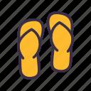 beach, flip, flop, sendal, summer icon