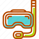 dive, diving, goggle, sea, snorkel, sports, summertime icon