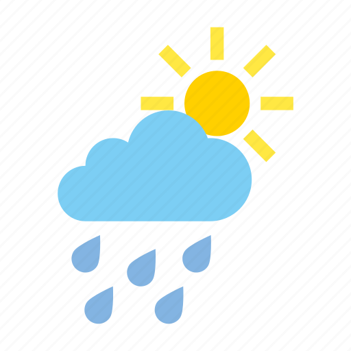 cloudy, heavy, light, rain, weather icon