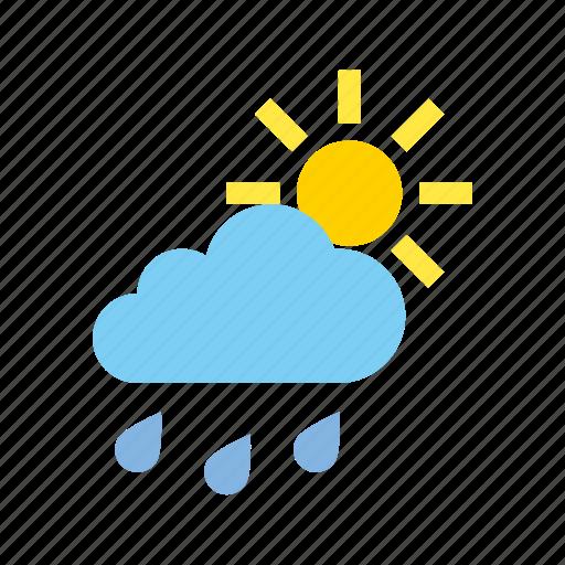 cloudy, light, medium, rain, weather icon