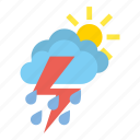 clouds, heavy, medium, rain, storm, weather icon