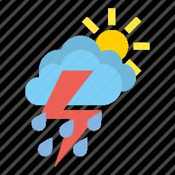 clouds, heavy, medium, rain, storm, weather icon